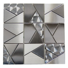 """12""""x12"""" Oddysey Shapes Mosaic Stainless Steel Tile, Single Listing"""