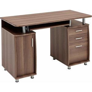 Elegant Modern Desk, Laminated Melamine Board, Sliding Keyboard Tray Dark Walnut