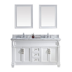 "Virtu Victoria 60"" Double Bathroom Vanity, White With Marble Top, With Mirrors"