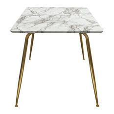 Chance Faux Marble Top Rectangular Dining Table With Brushed Gold Metal Legs