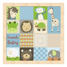Baby Boy Animal Quilt by Jennifer Nilsson Framed Art, Size 13.25 X 13.25