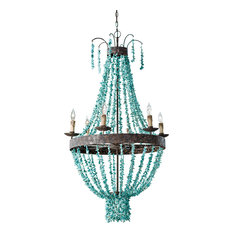 Beaded Turquoise Chandelier, Distressed Painted