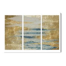 """Sea in Gold Triptych"" Canvas Art Print, 90x45 cm"