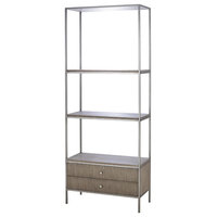 Maison 55 Paxton Mid Century Modern Wood Silver Metal Book Display Case