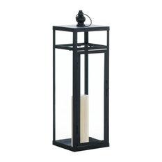 "Large Black Dramatic Geometry Lantern, 6.75""x22.5"""