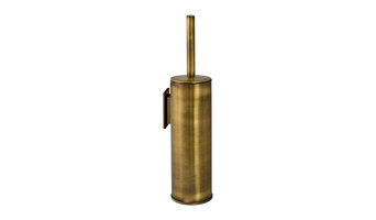 Wall-Mounted Cylinder Toilet Brush Set, Antique Brass