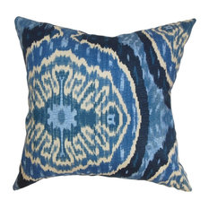 "Iovenali Ikat Pillow Blue 18""x18"""