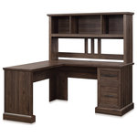 """Belleze - 60"""" L-Shaped Computer Corner Desk With Hutch, Dark Walnut - Constructed of high-quality PB board, sturdy frame, and thickened countertop, modern L-shaped computer desk blended vintage color tones, fits snuggly in any decoration with reliable quality. Extra 2 drawers and 3 open cubbies maximize your space and keep your desktop neat. Say goodbye to home office clutter!"""