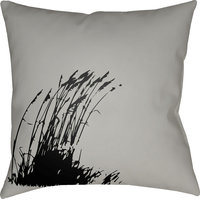 "Litchfield Wind Pillow, Gray, Onyx Black, 18""x18"""