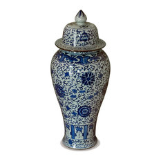 Blue and White Porcelain Ginger Jar, Without Stand