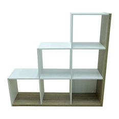 Stairs White and Wood Effect Bookcase