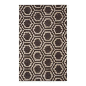 96x136 Area Rug Rectangle Brown Silver Handmade Hand-Tufted Moroccan