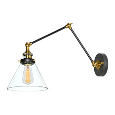LNC - Glass Adjustable Swing-Arm Wall Sconce With Clear Shade - Swing Arm  Wall