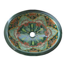 Green Greca Ceramic Talavera Sink