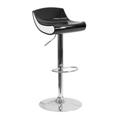 a588117d1668 Contemporary Black and White Adjustable Height Plastic Bar Stool, Black /White