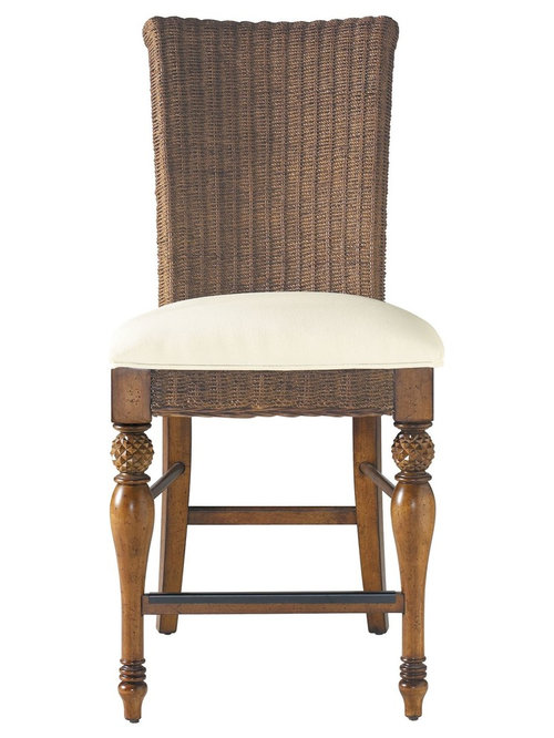 Stanley Furniture Coastal Living Cottage #23: Stanley Furniture - COASTAL LIVING COTTAGE WOVEN COUNTER HEIGHT STOOL WITH UPHOLSTERED SEAT - Bar Stools