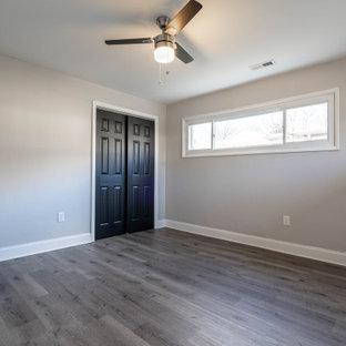 ボルチモアの小さいトラディショナルスタイルのおしゃれな主寝室 (グレーの壁、ラミネートの床、グレーの床、グレーの天井)