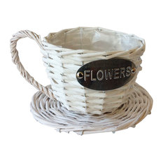 Handmade Wicker Coffee Cup Shaped Basket, Wicker, White