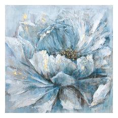 """Pretty in Baby Blue"" Hand Painted Canvas Artwork; Floral Art; Fine Art; Modern"