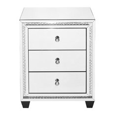 "22"" Crystal Three Drawers Bedside Table, Clear Mirror Finish"