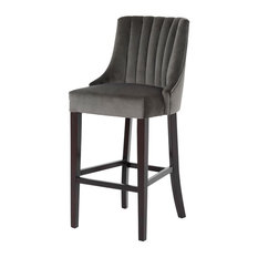 Nico Bar Stool, Grey Velour