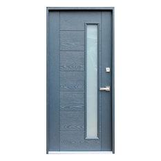 Ville Doors   Fiberglass Gray Stained Glass Entry Door, Left Hand   Front  Doors