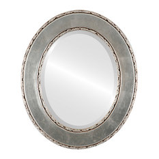 "Paris Framed Oval Mirror in Silver Leaf with Brown Antique, 25""x35"""