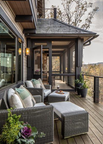 Rustic Deck by Allard + Roberts Interior Design, Inc