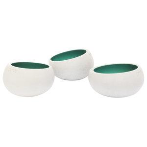 Gone's Brut Concrete Tea Light Holders, Set of 3, Beryl Green