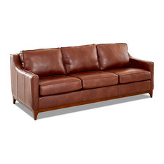 Avenue 405 Ansley Leather Wood Base Sofa, Chestnut