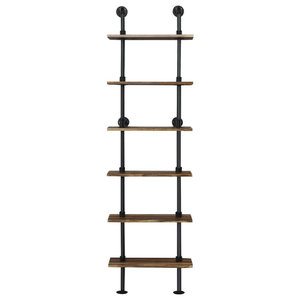 6-Shelf Rustic Vintage Industrial Pipe Wall Shelf