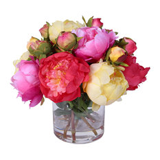 Silk French Peonies Bouquet in Glass Vase With Fake Water