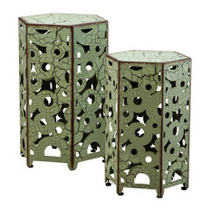 GDF Studio 2-Piece Utica Antique Style Yellow Accent Side Table, Green