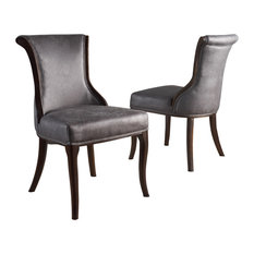 GDF Studio Lexia Classic Slate Microfiber Dining Chair Set Of 2