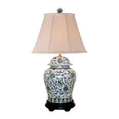 """Black and White Floral Pattern Porcelain Temple Jar Table Lamp 29"""""""