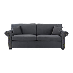 Sofamania   Classic Scroll Arm Brush Microfiber Sofa With Nailhead Trim,  Dark Gray   Sofas