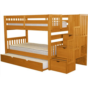 e0fc25a6db1991 Bedz King Bunk Beds Twin over Twin Stairway, 3 Step Drawers, Twin Trundle,