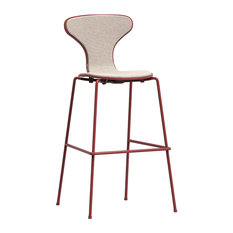 Hi Cream Upholstered Bar Stool, Brick Red Frame