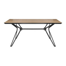 Milano Modern Dining Table, Natural Ash and Matte Black