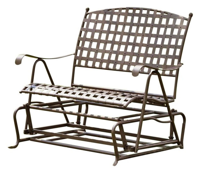 International Caravan Santa Fe Iron Patio Double Glider, Rustic Brown