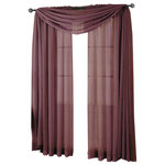 """Royal Tradition - Abri Single Rod Pocket Sheer Curtain Panel, Eggplant, 50""""x96"""" - Want your privacy but need sunlight? These crushed sheer panels can keep nosy neighbors from looking inside your rooms, while the sunlight shines through gracefully. Add an elusive touch of color to any room with these lovely panels and scarves. Sheers enhance the beauty of windows without covering them up, and dress up the windows without weighting them down. And this crushed sheer curtain in its many different colors brings full-length focus to your windows with an easy-on-the-eye color. These rod pocket crushed sheer panels are versatile enough to go from simple to elegant easily. The Abripedic Crushed Sheer Curtain panels are soft to the touch and adds a breezy relaxed look to any sort of d̩cor. This beautiful, solid-colored sheer curtain lets light gently filter through. Clean, simple one-pocket pole top design can be used with a standard or decorative curtain rod."""