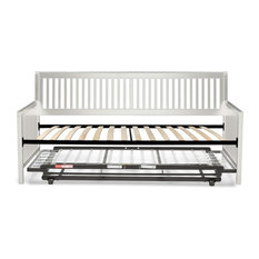Leggett & Platt - Wood Daybed, Euro Top Spring Support Frame, Pop Up Trundle Bed, Ivory, Twin - Daybeds