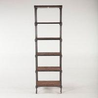 "79""T Bookshelf Wheeled Base Reclaimed Industrial Cast Iron Hand Crafted Teak"