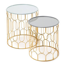 Timba Side Tables, Pale Grey and Dark Grey, 2-Piece Set
