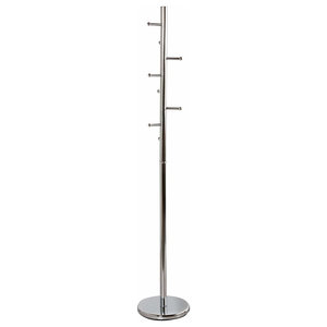 Free Standing Clothes Stand, Chrome Plated Metal With 8 Hooks, Cactus Design