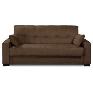 Excellent Upholstered Rich Brown Tufted Faux Leather Sofa Bed Futon Inzonedesignstudio Interior Chair Design Inzonedesignstudiocom
