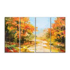 """""""Path"""" Autumn Forest"""" Landscape Canvas Artwork, 48""""x28"""""""