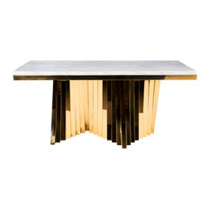 Waterfall Marble Top Dining Table Gold