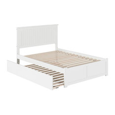 Atlantic Furniture Nantucket Full Platform Panel Bed with Trundle in White