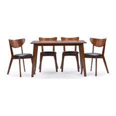 Sumner Mid Century Style Walnut Brown 5 Piece Dining Set
